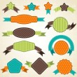 Set of retro ribbons and labels. Vector illustration. — Vecteur #12379421