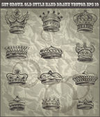 Set antique crown in old hand drawn style. VECTOR EPS 10 — Stock Vector