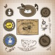 Stock Vector: Coffee labels and badges. Retro style coffee vintage collection.