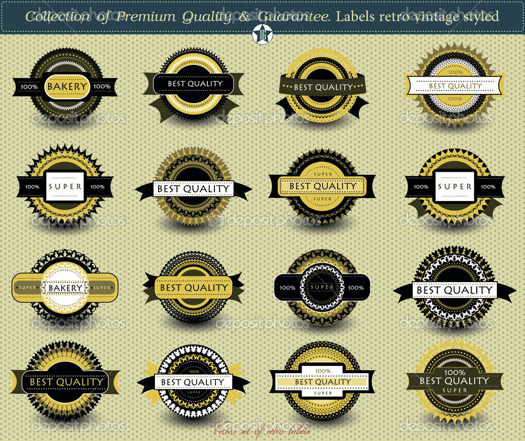 Set of vintage retro premium quality badges and labels — Stock Vector #11650587