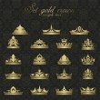 Icons set gold Crown for premium quality vintage label - Stock Vector