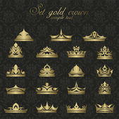 Icons set gold Crown for premium quality vintage label — Stock Vector