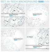 Set Hi-tech Abstract Vector Background. — Stock Vector