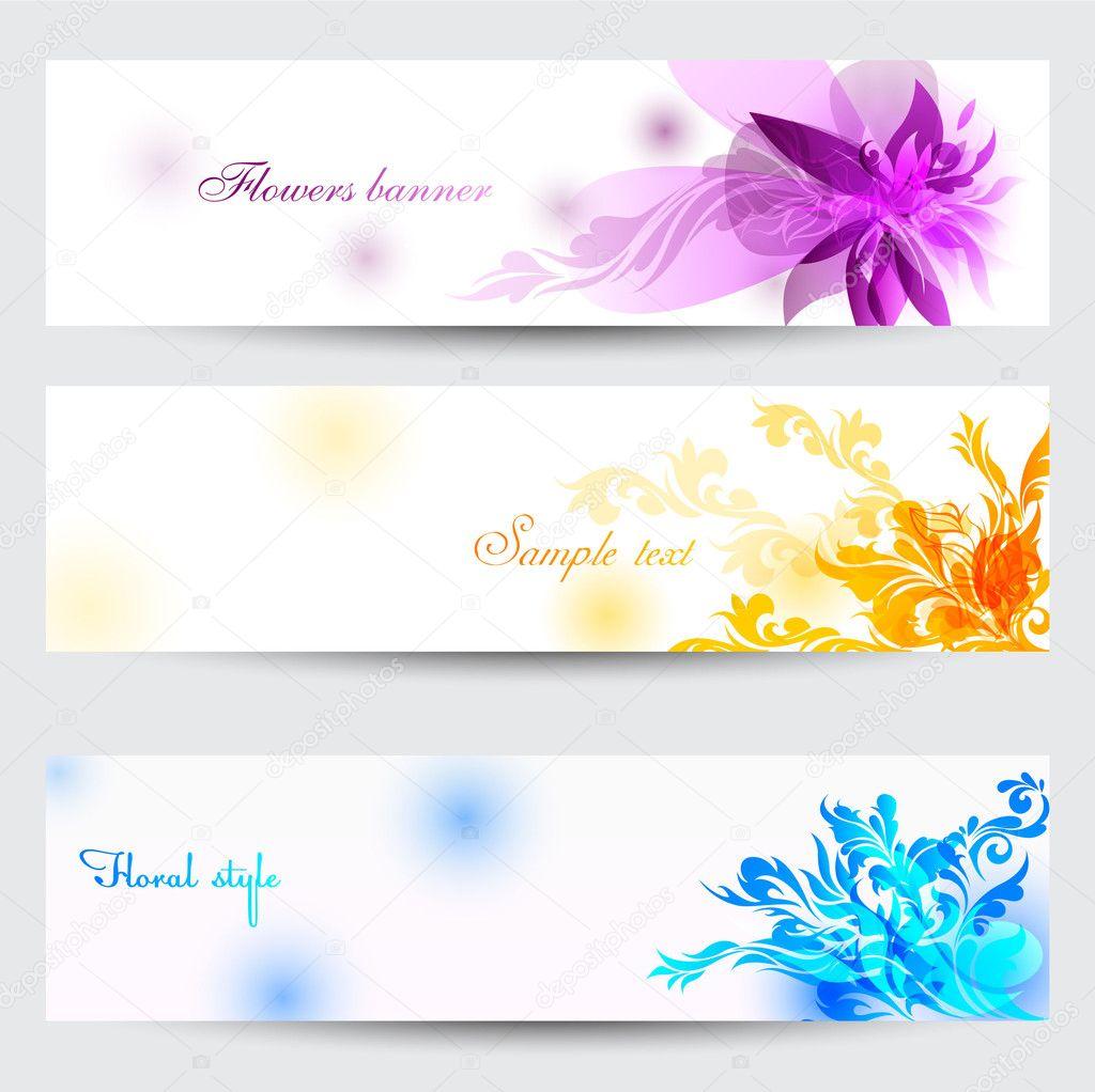 Flower Vector Background Brochure Template. Set Of Floral