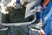 A manual preparation of mortar — Stock Photo