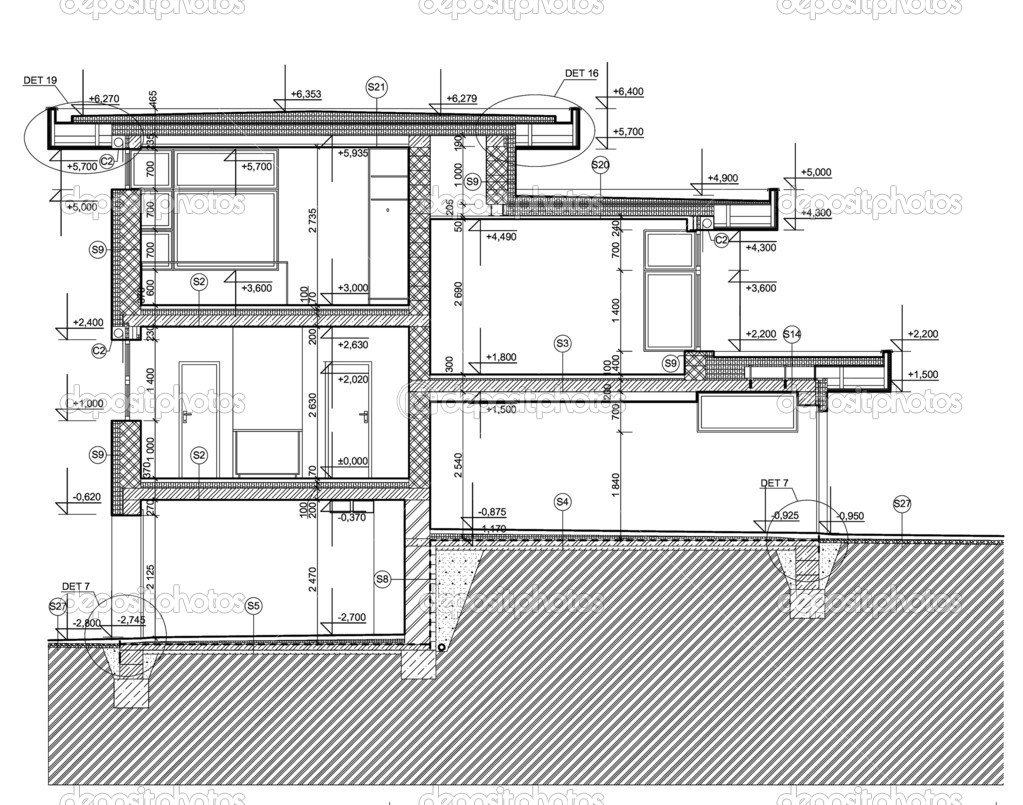 CAD Architectural Plan. black lines on white background.  Stock Photo #11094682