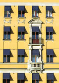 Old european yellow facade. — Stock Photo