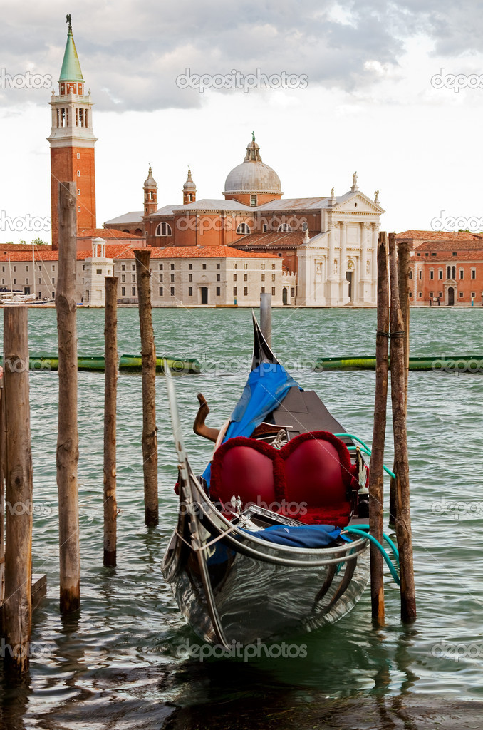 Gondola and the island San Giorgio Maggiore.  Stock Photo #11342943