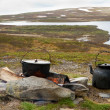 Stock Photo: Campfire cooking in Lapland.