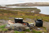 Campfire cooking in Lapland. — Stock Photo
