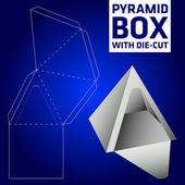 Pyramid box vector die-cut — Stock Vector