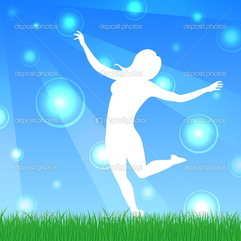 Happy dancing woman  Stock Vector #11068290