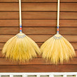 Broom on wooden wall — Foto de Stock
