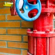 Stock Photo: Red gas pipe with blue valve