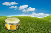 A yellow snare drum in a beatiful view — Stock Photo