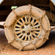 Dirty wheel with chain — Stock Photo