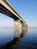The bridge through Volga in Saratov — Stock Photo