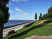 The coast of Volga in the city of Saratov. — Stock Photo
