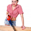 Woman with saw — Stock Photo