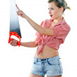 Stock Photo: Woman with saw