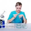 Girl researcher — Stock Photo