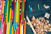 Penci in jeans pocketl- color image — Stock Photo