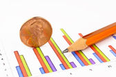 Penny coin with pencil standing on chart — Stock Photo