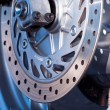 Motorcycle wheel disc brake detail — Stock Photo