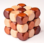 3D wooden puzzle, cube-shaped — Stock Photo