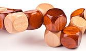 Detail of 3D wooden puzzle, cube-shaped — Stock Photo