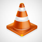 Orange highway traffic cone with white stripes — Stock Vector
