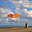 Stock Photo: Flags of Spain and Cataloniat top of lerida