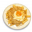 Постер, плакат: Baby eels with chips and egg