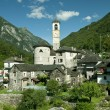 Church in alpine landscape (verzasca valley, switzerland) - Stock Photo