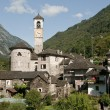The beautiful village of Lavertezzo in the Verzasca valley of Switzerland - Stock Photo