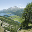 Panoramic view of the valley of engadine, switzerland — Stock Photo