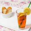 Lemon tea with bread — Stock Photo