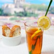 Lemon tea with bread — Stock Photo #10963835