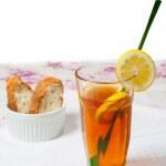 Lemon tea with bread isolated on white — Stock Photo #10964284
