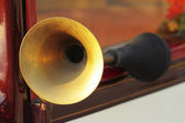 Scene detail of antique car horn — Stock Photo