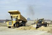 Scene working on construction machinery — Stock Photo