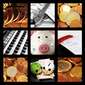Collage of currencies and financial reasons — Stock Photo