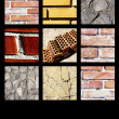 Brick collage highlighting black background color and texture — Stock Photo