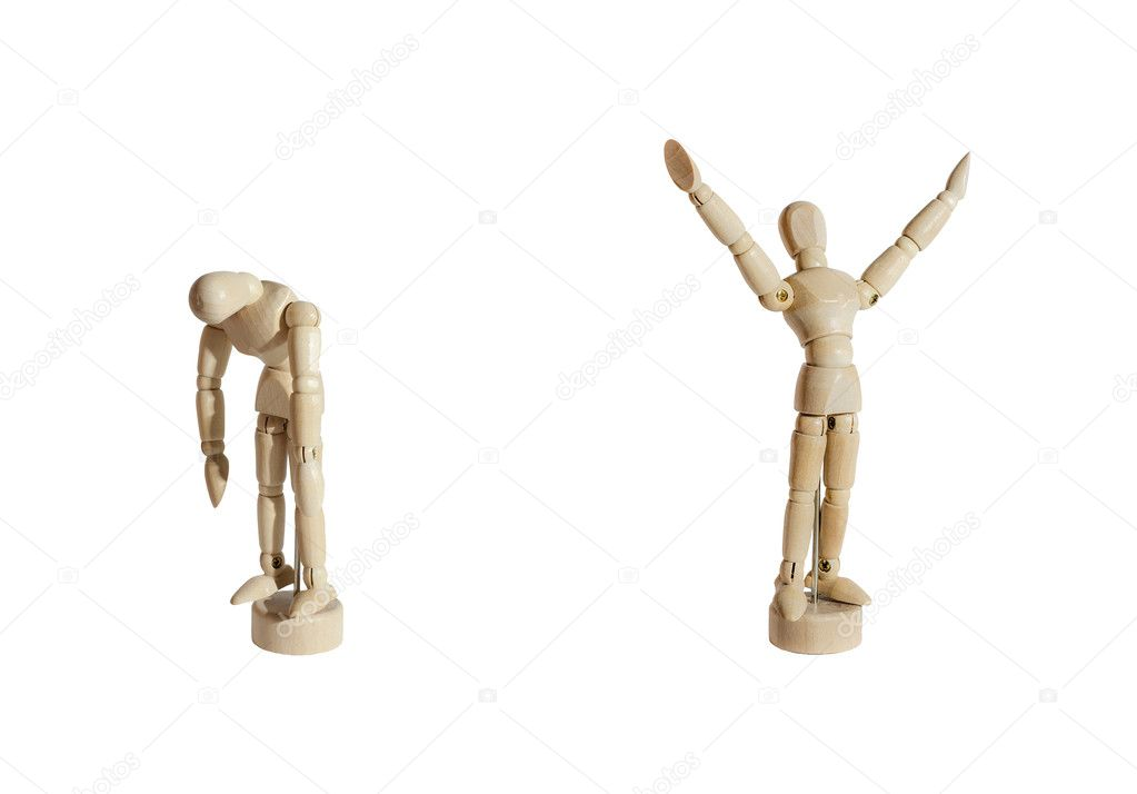 Two wooden mannequins, one celebrating and the other sad, against white background. — Stock Photo #10956182