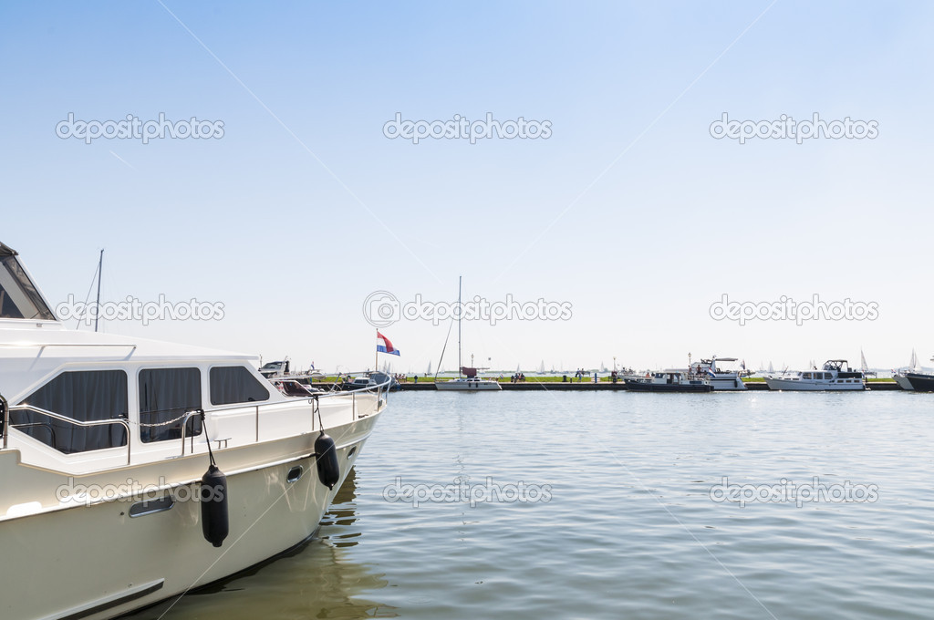 Cropped shot of yacht docked in Volendam, Holland  Stock Photo #11200550