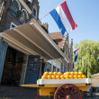 Stock Photo: EDAM, HOLLAND - MAY 28: famous cheese market of Edam, with l