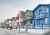 Typical houses of Costa Nova, Aveiro, Portugal. — Stock Photo
