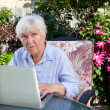 QUizzical Senior Woman with Computer — Foto de Stock