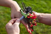 Red Prom Corsage — Stock Photo