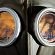 Gas Mask close up with reflected industry — Stock Photo